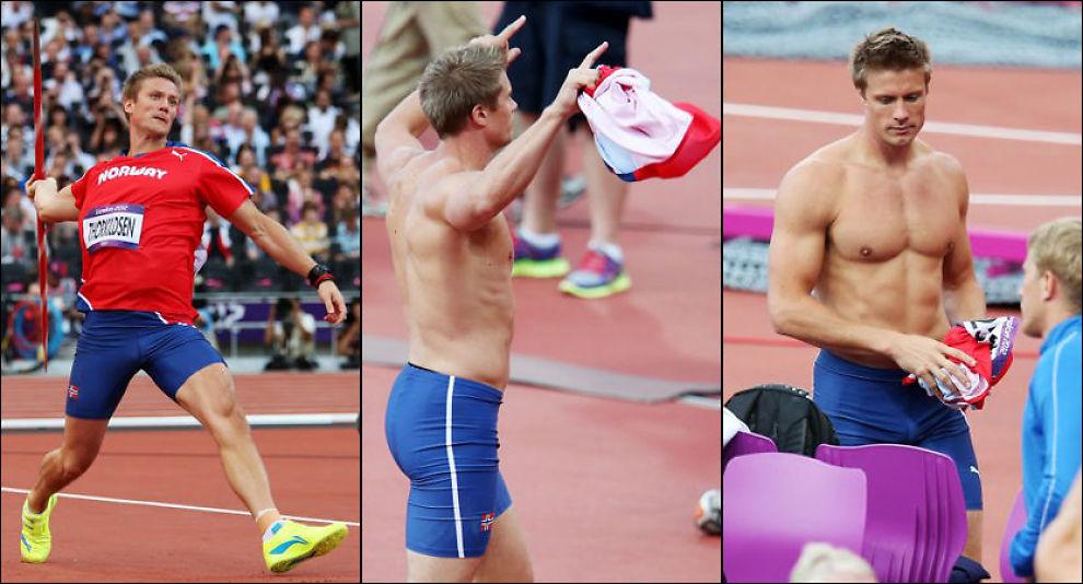 FINALEKLAR: Andreas Thorkildsen er klar for OL-finalen i spyd etter å ha kastet 84,47 i sitt andre forsøkskast - og feiret i bar overkropp. Foto: Håkon Mosvold Larsen, NTB Scanpix