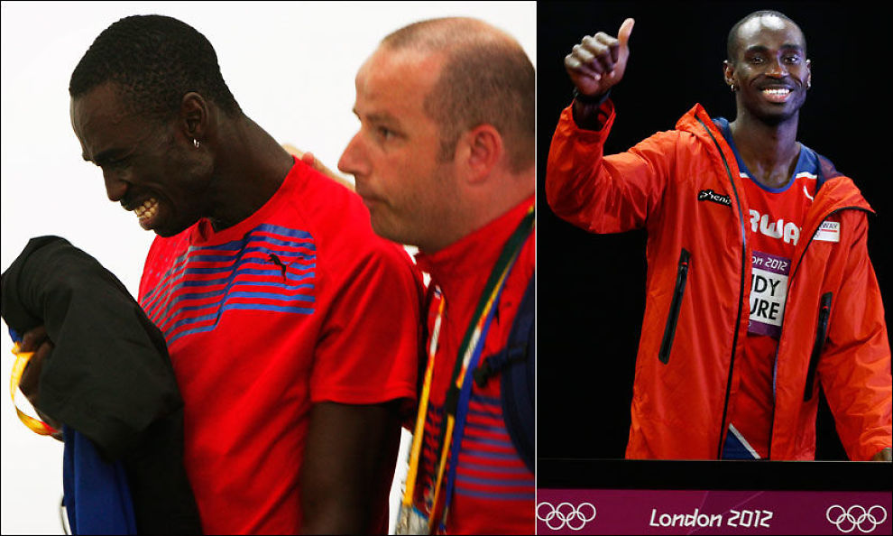 KONTRASTER: Til venstre får Jays Ndure hjelp av sportssjef Ketil Tømmernes i Friidrettsforbundet etter å ha blitt skadet i OL i Beijing. Til h. ses samme mann etter forsøket på 200 meter tirsdag ettermiddag i London. Foto: NTB Scanpix