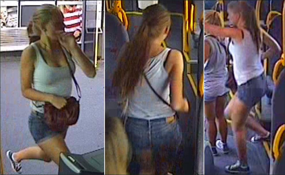 FILMET: Bildene viser Sigrid Giskegjerde Schjetne idet hun går på 69-bussen på Tveita stasjon lørdag 4. august kl 19.45. Foto: Politiet