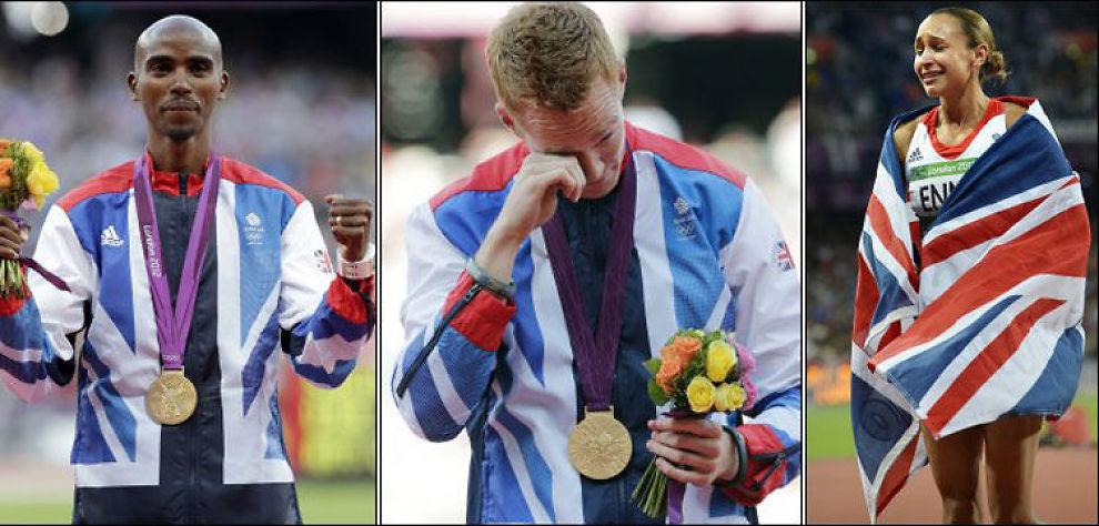 GULL ETTER GULL ETTER GULL: Storbritannia håver inn medaljer, lørdag kveld tok alle disse tre edleste valør: Mo Farah (f.v), Greg Rutherford og Jessica Ennis. Foto: Bjørn S. Delebekk, VG/AP/VG Nett montasje