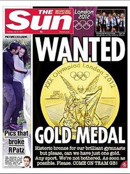 ETTERLYST: Etter fire gulløse dager begynte britisk presse å etterlyse en gullmedalje på hjemmebane. Ti dager etter denne The Sun-forsiden har britene tatt 25 OL-gull. Foto: Faksimile: The Sun