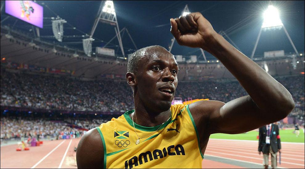 BOLTET FAST NYTT MINNE: Usain Bolt jubler over 200-meter-gullet på Olympiastadion torsdag kveld. Foto: FRANCK FIFE, Afp