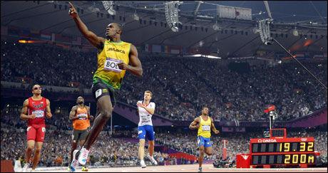 STERK TID: 19,32 er et stykke fra verdensrekorden på 19,19, men fortsatt raskt levert av Usain Bolt. Foto: AFP