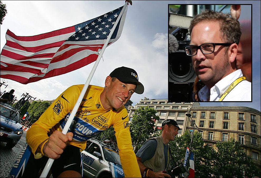 SLET MED SAMVITTIGHETEN: Jonathan Vaughters (innfelt) erkjenner at han tok feil valg i en tid da mange rundt ham jukset med dopingmidler. Han mener at doping var avgjørende for å kunne hevde seg i toppen. Vaughters syklet da for Lance Armstrong. Foto: AP