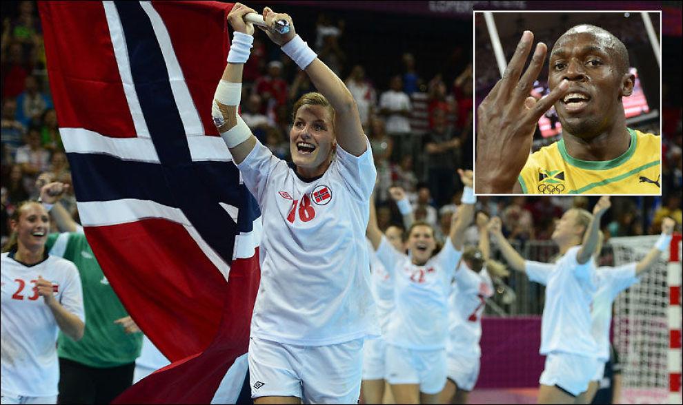 FLAGGET SIN INTERESSE: Linn-Kristin Riegelhuth Koren ledet an med det norske flagget etter seieren i OL-finalen. Usain Bolt markerte at han har tre OL-gull etter sitt løp. Foto: Afp