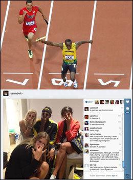 BOLTER FAST MINNENE: Over vinner Usain Bolt spurten mot Ryan Bailey på stafetten, og under ser vi hans bilde med de svenske jentene på Twitter etter 100 meter-gullet. Foto: AP / Twitter
