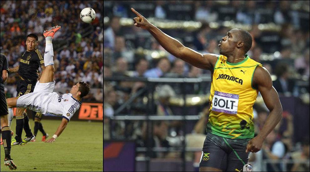 HAN ER BEST: Usain Bolt mener Cristiano Ronaldo er verdens beste fotballspiller. Foto: Kevork Djansezian, AFP, Bjørn S. Delebekk, VG