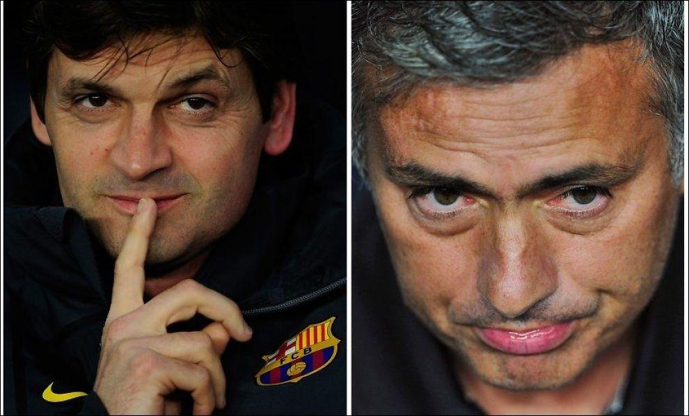 DUELLEN: Dette er de to trenerne som etter all sannsynlighet kommer til å krige om det spanske ligagullet. Tito Vilanova (t.v) for Barcelona og José Mourinho for Real Madrid. Foto: AP