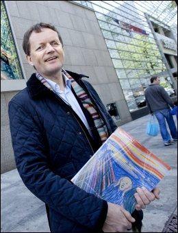 IKKE SJOKKERENDE: Her er Munch-ekspert Harald Enerud i New York for å se at Edvard Munchs «Skrik» selges på auksjon. Foto: Thomas Nilsson.