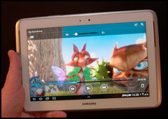 Støtte for video og annen underholdning på Galaxy Note 10.1 er svært god. (Foto: Finn Jarle Kvalheim, Amobil.no)