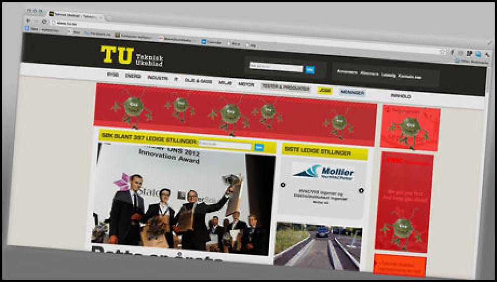 Teknisk Ukeblad ble annonsehacket. Trykket du på en tilsynelatende ufarlig annonse kunne du bli sendt til en ondsinnet tredjepartsside som lastet ned en trojaner på PC-en din. (Foto: Illustrasjon: Niklas Plikk, Hardware.no)