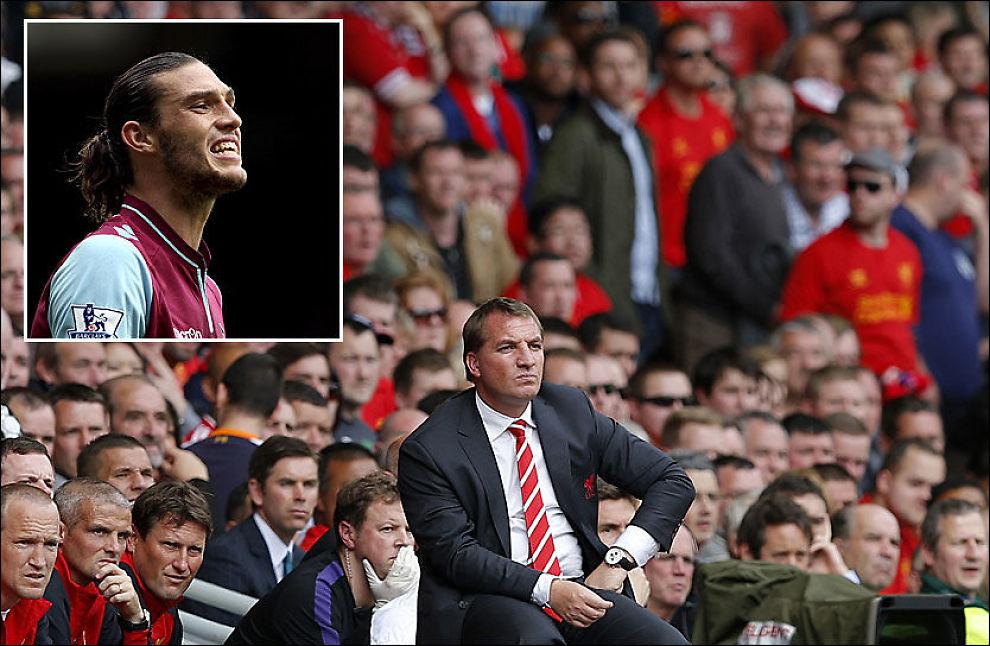 LÅNT UT: Andy Carroll (innfelt) forsvant til West Ham før årets sesong. Tilbake i Liverpool sitter manager Brendan Rodgers med ett poeng på tre kamper i sesongstarten. Foto: PA / Reuters