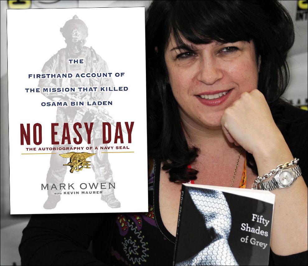 TOPPER: Boken «No Easy Day» har fått mye oppmerksomhet siden utgivelsen ble kjent - i likhet med E.L. James' «Fifty Shades of Grey». Foto: AP / Montasje.
