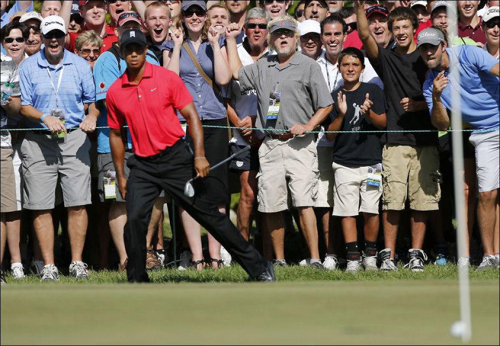 OK LØNN: Tiger Woods, her under denne ukes turnering, har spilt inn snaut 600 millioner kroner i løpet av karrieren. Foto: AP