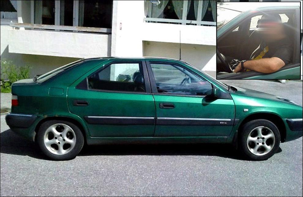 DRAPSSIKTET: Den bilinteresserte 37-åringen (innfelt) sier flere hadde nøkler til den grønne Citröenen på bildet. Han nekter enhver befatning med drapet på Sigrid Giskegjerde Schjetne (16). Foto: PRIVAT