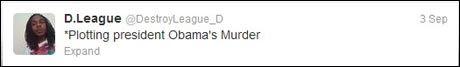 - PLANLEGGER DRAP: Dette skrev Sims på Twitter to dager før Obama ankom hans hjemby Charlotte. Foto: Skjermdump fra Twitter