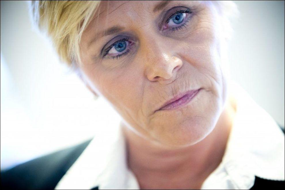 UPOPULÆR: Fremskrittspartiets leder Siv Jensen. Foto: Terje Bringedal