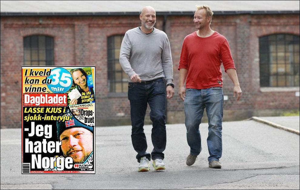 BOK-AKTUELLE: Lasse Kjus og Kjetil André Aamodt på vei til innspillingen av «Senkveld». Innfelt er Dagbladets førsteside fra onsdag 9. februar 2000. Foto: Frode Hansen, VG