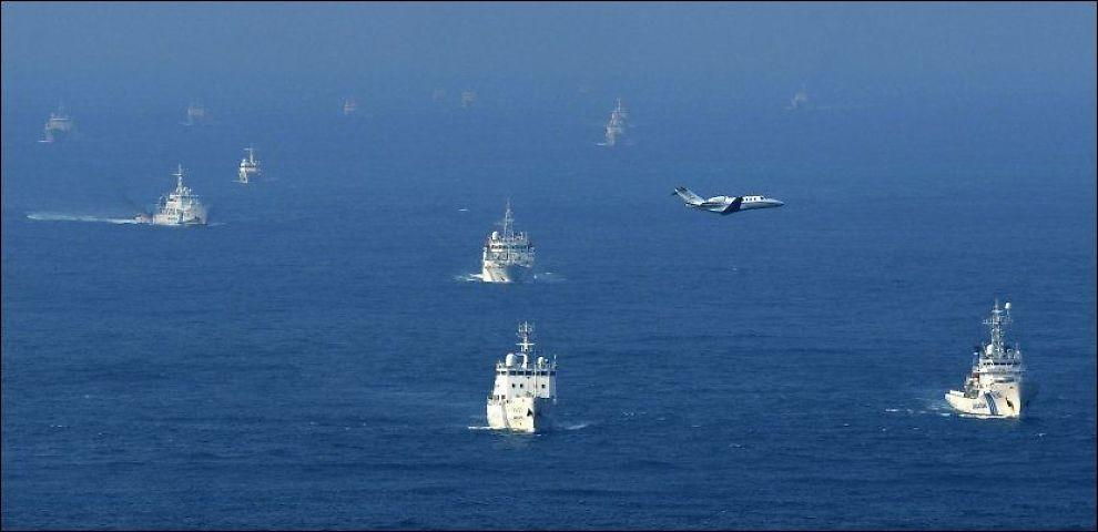 PÅ VEI MOT ØYGRUPPE: Kina har sendt ut overvåkningsskip mot de omstridte Diaoyu-øyene. FOTO: AP