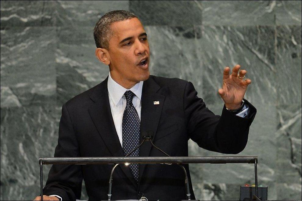 FYRTE LØS: USAs president Barack Obama talte tirsdag til FNs hovedforsamling i New York. Foto: AFP