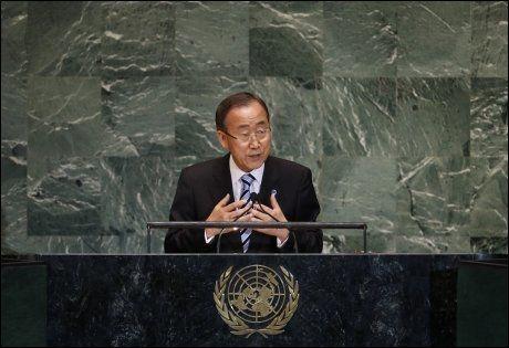 UROLIG: FNs generalsekretær Ban Ki-moon uttrykte at han er dypt bekymret for situasjonen i Midtøsten under en tale til FNs hovedforsamling tirsdag. Foto: REUTERS