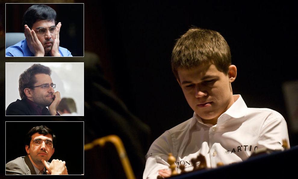 MØTES: Magnus Carlsen skal spille mot Vishy Anand (innfelt øverst), Levon Aronian og Vladimir Kramnik i Norway Chess-turneringen. I tillegg til kinesiske Wang Hao. Foto: Marcus Engström/Ap/Afp