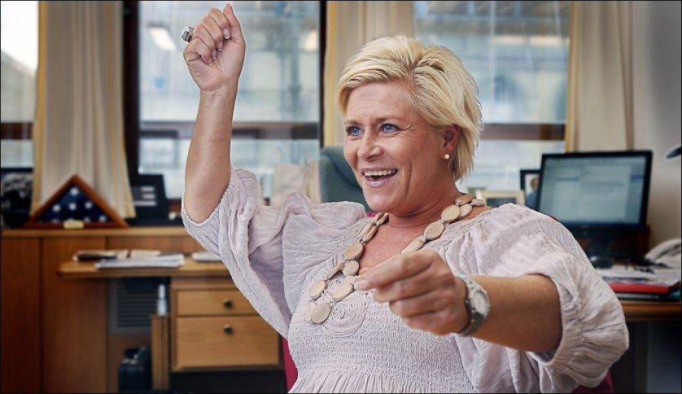SKAL SNU: Siv Jensen og Fremskrittspartiet legger opp til en mer liberal homopolitikk. Foto: Nils Bjåland
