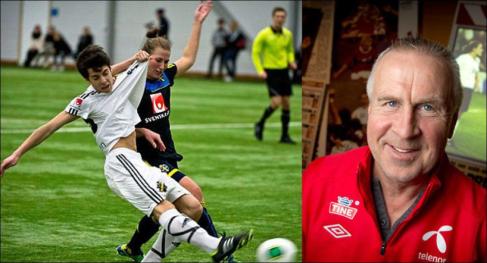 TØFFE DUELLER: Sveriges kvinnelandslag fikk kjørt seg mot AIKs guttelag (til v.). Even Pellerud (t.h.) er positiv til å la kvinnespillere får matching mot gutter. Foto: Lotte Fernvall, Aftonbladet / Mattis Sandblad, VG