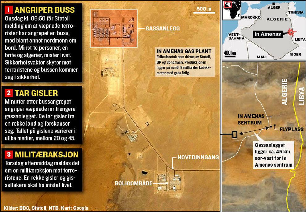 ANGREPET: Dette kartet viser gassanlegget In Amenas i Algerie som ble angrepet onsdag. Foto: Grafikk: Tom Byermoen