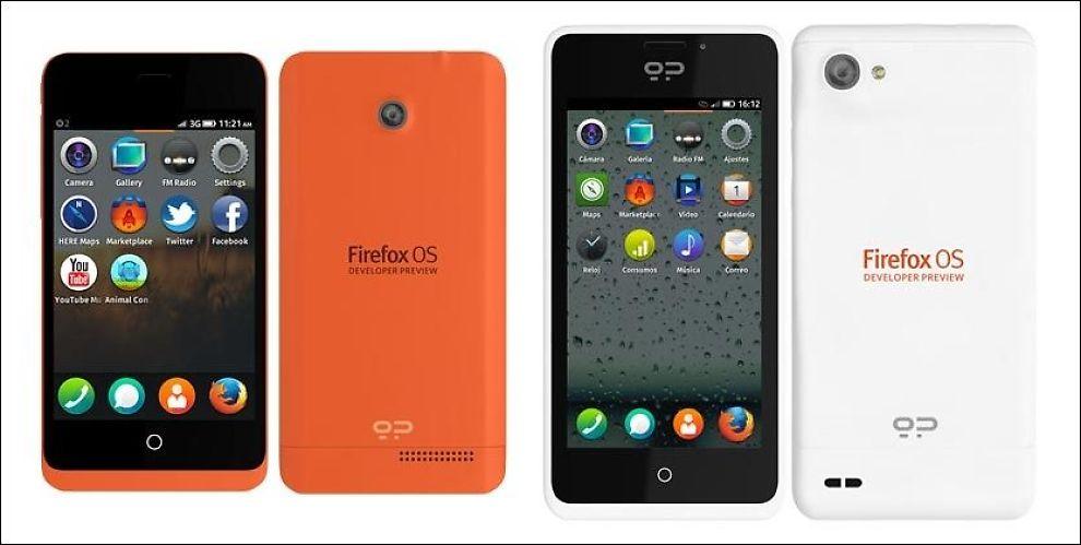 NYTT SYSTEM: Slik ser verdens første Firefox-mobiler ut. Modellen til venstre heter Keon, den til høyre heter Peak. Foto: GEEKSPHONE