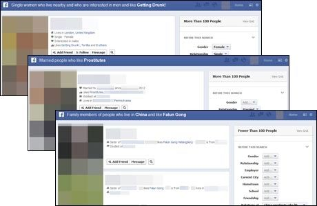 TVILSOMT: Slik demonstrerer bloggeren Tom Scott at Facebook-søket kan brukes: Single damer i nærheten som liker å drikke seg fulle, gifte mennesker som liker prostituerte, kinesere som liker Falun Gong - og deres familier.