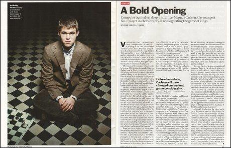KJENNING: Magnus Carlsen ble i 2010 omtalt av nettopp av Time Magazine. Foto: Faksimile: Time