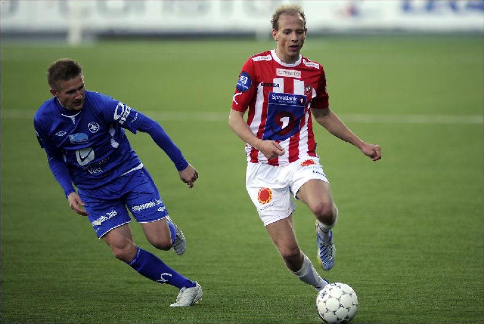 TATT UT AV DRILLO: Tromsøs Ruben Kristiansen er én av fire backer i troppen som møter Albania. Her er han fra en kamp mot Haugesund i april. Foto: Scanpix Foto:
