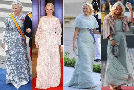 FAVORITT-DESIGNERE: Kronprinsesse Mette-Marits lange Valentino-kjole (helt til venstre) dukket aldri opp på catwalken - bare i en kort versjon. Mette-Marits kjole er altså spesialsydd til henne og koster sannsynligvis mange titalls tusen. Blomsterkjolen er fra Giambattista Valli, den pastelfargede kappekjolen fra Pucci og den siste fra et ukjent merke. Foto: NTB Scanpix