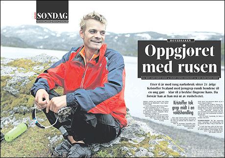 VG SØNDAG: Kristoffer Svaland (29) stod frem i gårsdagens VG og fortalte sin dramatiske historie om veien ut av rusen. Foto: Faksimilie