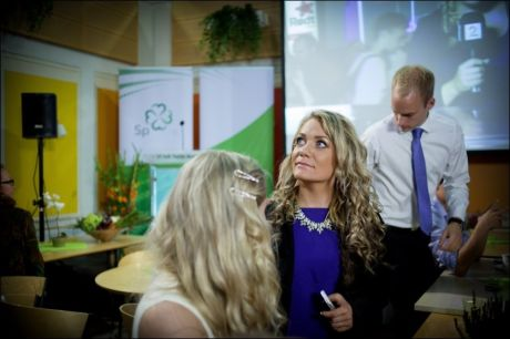 GIKK HJEM: Sandra Borch reagerte kraftig på at partiet feiret valgresultatet forrige mandag. Her fra valgvaken. FOTO: KYRRE LIEN / VG