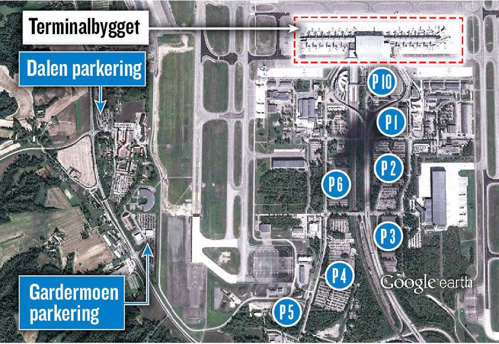 P-PLASSENE: Her ser du hvor de ulike parkeringsplassene ligger i forhold til terminalbygningen på Gardermoen. Priser nederst på siden. Grafikk: IVAR GAASØ Grafikk: IVAR GAASØ