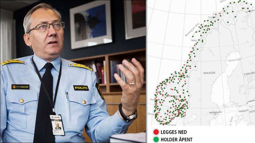 VURDERER MASSIVE KUTT: Politidirektør Odd Reider Humlegård understreker at kartet og oversikten over stedene er en modell for hvordan politi-Norge kan komme til å bli organisert i fremtiden. Foto: FRODE HANSEN