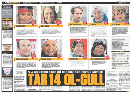 TROR PÅ REKORD: Aldri før har Norge plukket mer enn 13 gullmedaljer i et OL. Det beste vinter-OL for de norske var i Salt Lake City i 2002. Da ble det 13 gull. Foto: Faksimile, VG