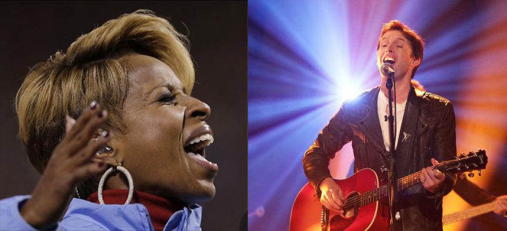 UTENLANDSKE INNSLAG: Mary J. Blige og James Blunt er klare for Nobelkonserten. Foto: AP/Pa
