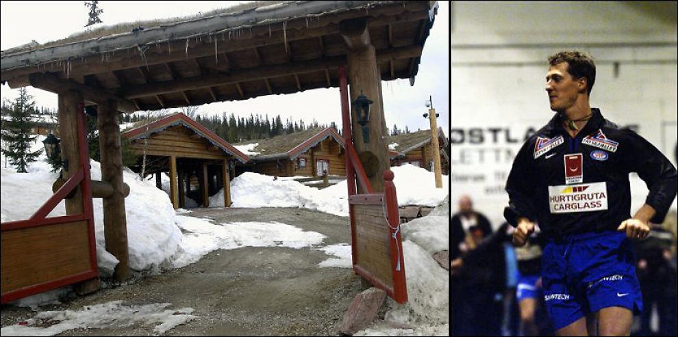 HYTTELYKKE: Michael Schumachers hytte på Trysil, der han unslapp fotografer og sa han fant styrken til å vinne billøp. Bildet til høyre viser ham på fotballbanen i Nybergsund. FOTO: GEIR OLSEN og LARS ERIK SKREFSRUD