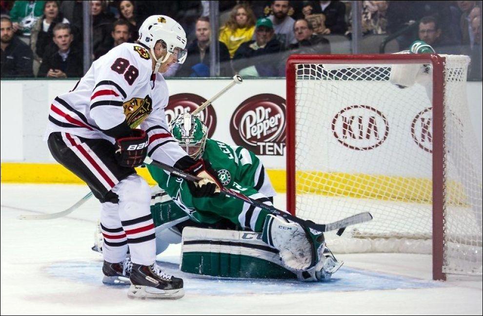 POENGMASKIN: Patrick Kane har nest flest poeng av alle NHL-spillere, og kan score i sin femte strake bortekamp.