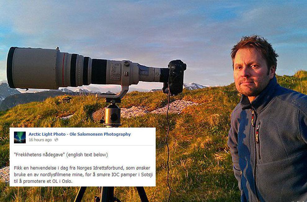 «FREKKHETENS NÅDEGAVE»: Fotograf Ole Christian Salomonsen er tydelig på hva han mener om forespørselen fra Norges Idrettsforbund. Foto: PRIVAT