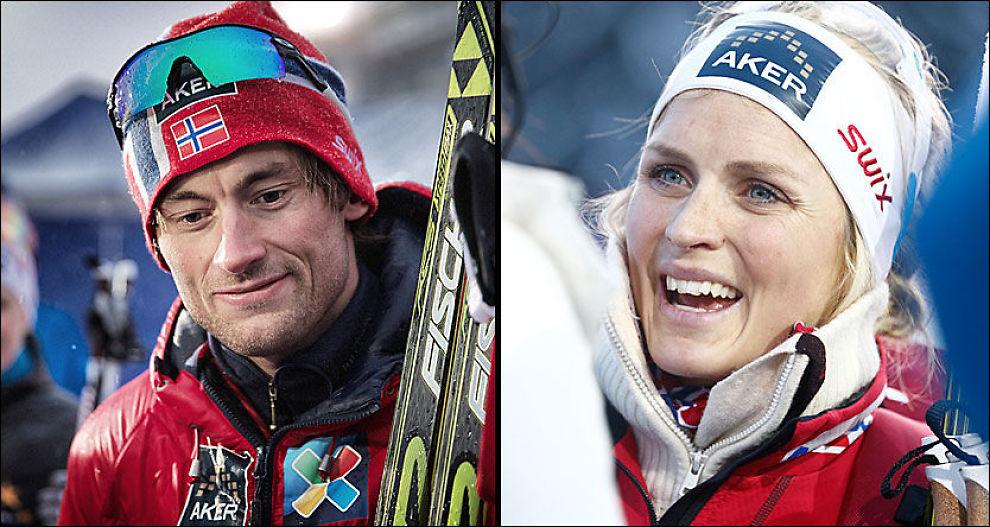 KONTROVERSIELT BILDEBRUK: Therese Johaug (t.h.) og Petter Northug profilerte Unibets nettsider i forkant av OL. Det skal koste selskapet dyrt, hevder Norges skiforbund. Foto: Mattis Sandblad