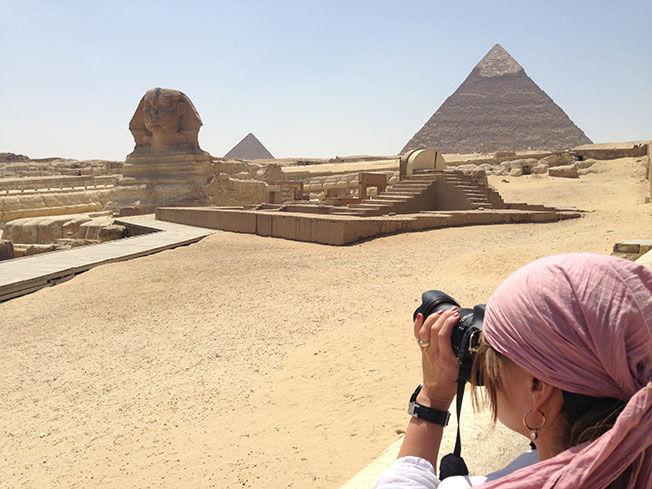 FOTO TIL BLOGGEN: Etter at VG intervjuet Mette Solberg Fjeldheim var hun i Egypt, men hvor mye hun faktisk reiser er hun usikker på. - Jeg reiser jevnt og trutt og trolig mer enn folk flest, sier hun. Foto: Privat