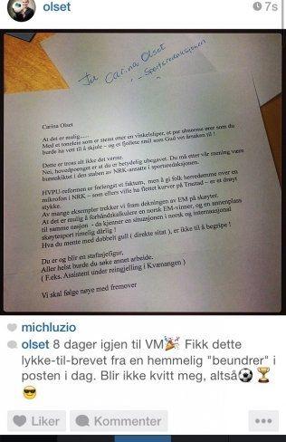 VM-KLAR: Carina Olset er klar for VM. I dag mottok hun et hetsbrev fra en seer. Foto: Privat