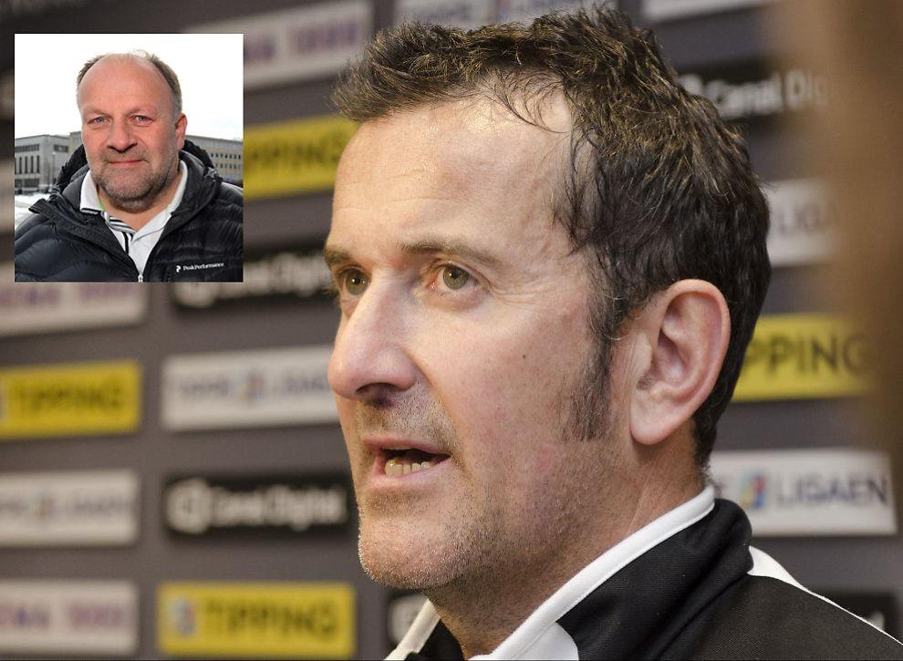 HARDT PRESSET TRENER: RBKs styreleder Ivar Koteng (innfelt) er ikke fornøyd med utviklingen i Rosenborg. Men han hevder trenersparking ikke er tema nå. Per Joar Hansen fikk mange kritiske spørsmål etter cupbomben mot Ranheim. Foto: Scanpix.