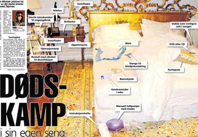 <p>SENGEN: Det var i denne sengen Michael Jackson sluttet å puste. Bildet er hentet fra papirutgaven av VG 4. august 2009 og viser tingene som ble funnet på rundt på soverommet hans. Foto: NEWS OF THE WORLD/VG<br/></p>