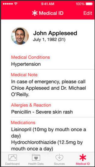 """<p>NØD-INFO: Som en del av Apples helse-app, skal brukeren kunne fylle ut et """"ulykkeskort"""" med sentral medisinsk informasjon om seg selv, som kan være viktig for helsepersonell dersom man blir utsatt for en ulykke. Dette """"kortet"""" skal kunne gjøres tilgjengelig også fra en låst mobilskjerm, dersom brukeren ønsker det.<br/></p>"""