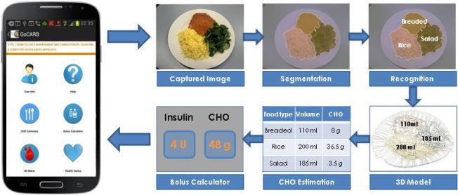<p>Her vises trinnene som er involvert i den kommende GoCARB-appen. Bildet av et måltid deles opp og identifiseres av appen som ulike typer mapt. Volum (ml) og karbohydratinnhold (CHO) beregnles, og ut fra dette kalkuleres insulinmenge.<br/></p>